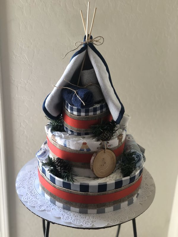 """Happy Camper"" Diaper Cake"