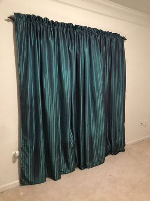 "Emerald Green Stripe 3 pc curtains - 86"" H x 56"" W for Sale in Ashburn, VA"