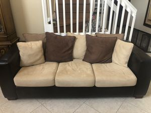 Leather and Velour Couch and LoveSeat (Set - price for Both) for Sale in Lake Worth, FL