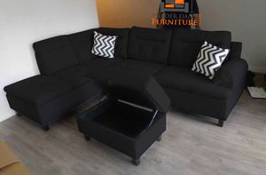 Brand New Black Linen Sectional Sofa Couch + Storage Ottoman for Sale in Silver Spring, MD