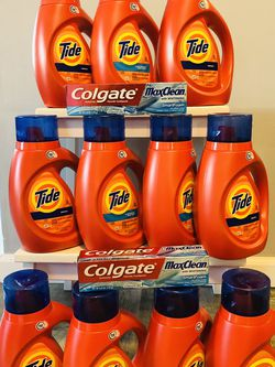 $50 10 Bottles Of Tide It's 25loads Each Bottle And 2 Box Of Toothpaste It's All Brand New And Pick Up Gahanna for Sale in Columbus,  OH