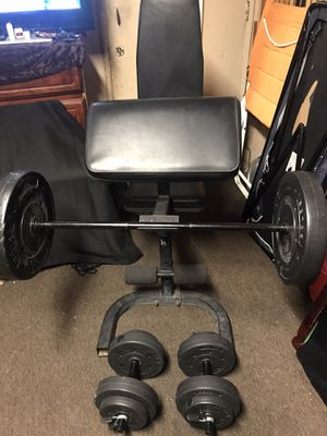 ADJUSTABLE WEIGHT CURL BENCH and DUMBBELLS and BAR is 4ft LONG WEIGHTS for Sale in East Los Angeles, CA