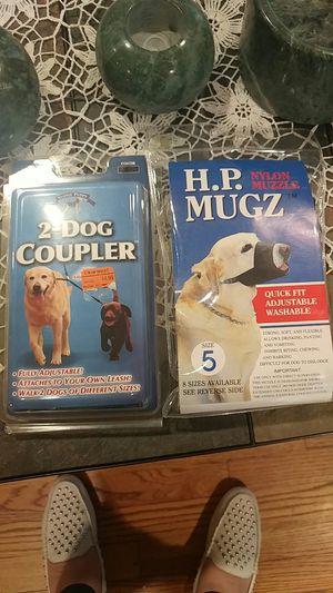 2 dog coupler and nylon muzzler for Sale in Wheaton, IL