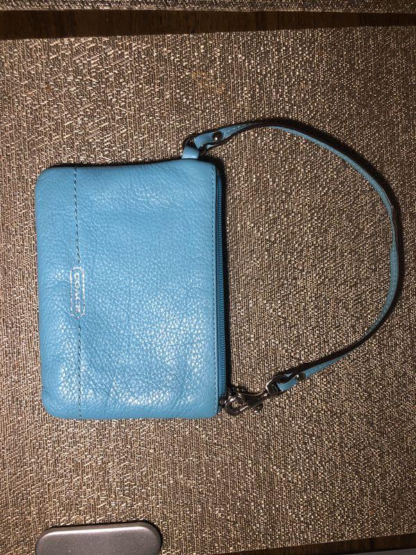 Authentic Blue Coach wristlet