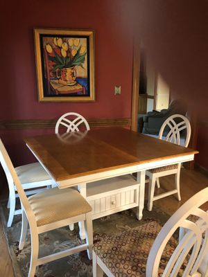 6 chairs table with insert to enlarge for Sale in Youngsville, NC