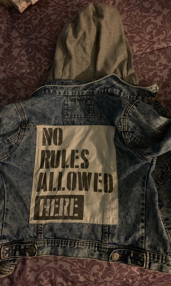 Kids ZARA no rules allowed Jean jacket with hoodie build in
