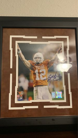 Signed colt McCoy picture frame with coa for Sale in Groves, TX
