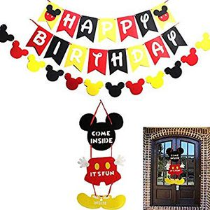 Mickey Mouse Party Supplies Kits, Mickey Happy Birthday Banner Flags, Garland and Welcome Hanger Door Sign for Baby Kids Shower Mickey for Sale in Altamonte Springs, FL