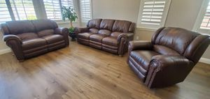 Selling living room set : 100% leather 3 piece 5 recliner for Sale in San Diego, CA
