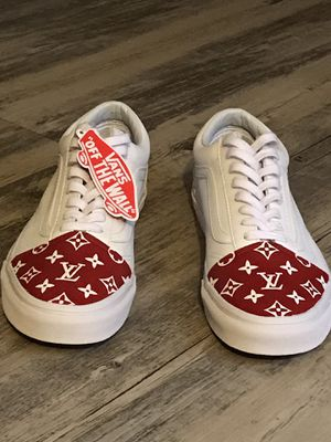 Old school (tumbled leathered) true white Louis Vuitton custom vans for Sale in Garner, NC