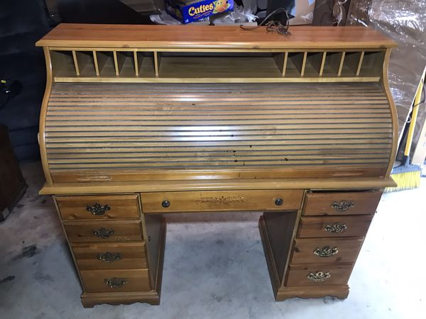 """Light Brown Roll Top Desk Hutch Multiple Drawers & Slots 53""""x22""""x48"""""""