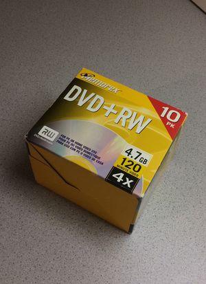DVD + RW rewritable memorex 10 pack 120 min video 4.7 GB for Sale in Walkersville, MD