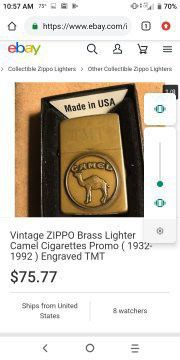 Camel highly rare collectable brass commemorative zippo for Sale in Lakeland, FL