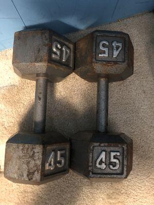 Dumbbells weights set 45lbs ( 90lbs total) for Sale in Manassas, VA