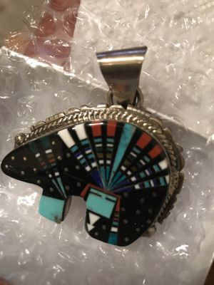 Turquoise Night Sky Bear Fetish Pendant by Navajo artist Ray Jack for Sale in Oronogo, MO