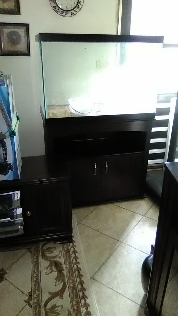 65 Gallon fish tank and cabinet