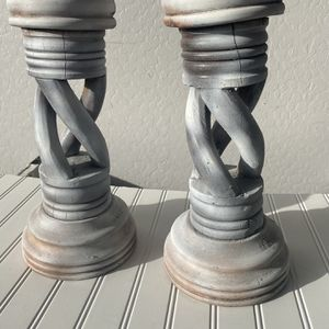 Set Of 2 Farmhouse Wood Candle Sticks for Sale in Gilbert, AZ