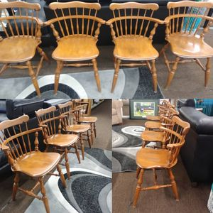 4 piece vintage wood Ethan Allen chair set for Sale in Tampa, FL