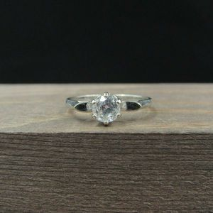 Size 6.25 10K Gold Clear Quartz Round Stone Band Ring Vintage Estate Wedding Engagement Anniversary Gift Idea Beautiful Elegant Unique for Sale in Everett, WA