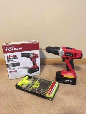 Hyper Tough18-volt Drill with 50 piece drill bits for Sale in Beloit, WI