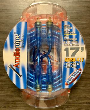 New Audiopipe 17' Car Stereo RCA Cable DUAL Male to FOUR Male Terminator Blue Series for Sale in Portland, OR