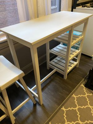 White kitchen table with two stools for Sale in Queens, NY