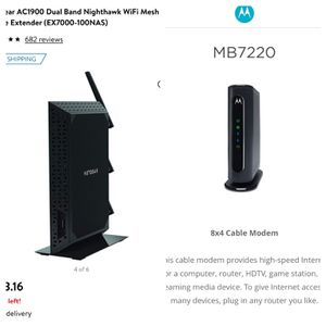 Cable modem and WiFi extender router for Sale in Bel Air, MD