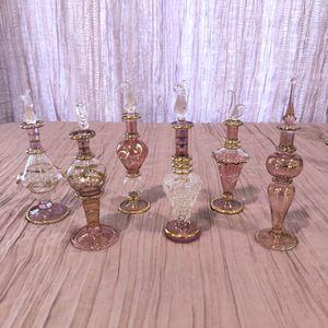 Egyptian Blown Glass Mini Perfume Bottles - PINK set for Sale in Scottsdale, AZ