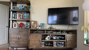 Beautiful and strong wooden furniture set (2 bookshelves- 1 tv console) for Sale in Houston, TX