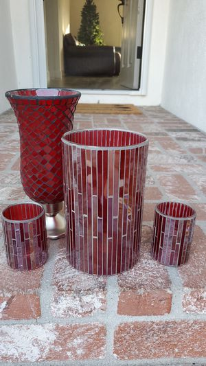 Crate & Barrel Red Stained Glass Hurricanes for Sale in Buena Park, CA