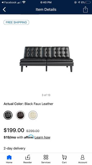 Black Leather Futon for Sale in Detroit, MI