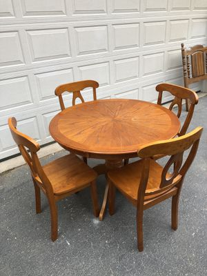 Solid Wood Kitchen Table and 4 Chairs for Sale in Manassas, VA