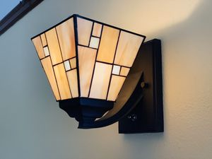 Pair of stained glass craftsman wall sconce lights for Sale in Seattle, WA