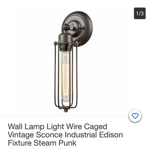 Westmenlights wall lamp light wire caged vintage sconce industrial Edison fixture steam punk - brand new for Sale in Corona, CA