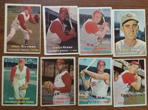 1957 Topps Baseball (8) Card Lot of the Cincinnati Redlegs with Ted Kluszewski for Sale in Middleton, MA