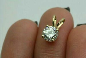 "1.00 Ct Round Cut Solitaire 14k Yellow Gold Over Diamond Pendant 18"" Chain Free for Sale in Clifton, NJ"