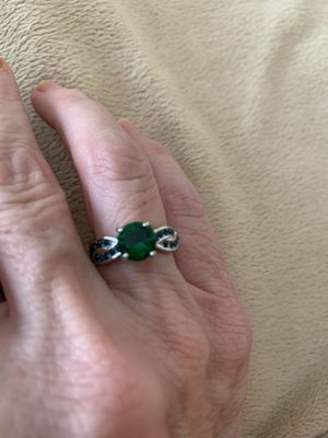 New CZ green emerald silver wedding ring size 6 for Sale in Inverness, IL