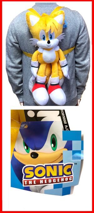 NEW! Sonic the Hedgehog TAILS soft toy plush backpack video game cartoon anime characters kid's bag Sega for Sale in Carson, CA