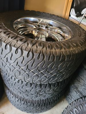 """Wheels and tires lt 325/60r20"""" 6 lug Chevy in gmc 6x5,5 or 6x139,7 for Sale in Riverside, CA"""