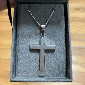 Chisel Stainless Steel Necklace - Brushed and Polished Layered Cross for Sale in New Haven, CT