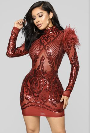 Red Mesh/ Sequin Feathered Dress for Sale in Columbia, MD