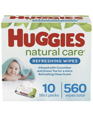 Huggies Natural Care Refreshing baby wipes, scented, 10 packages with folding cap (560 wipes in total) for Sale in Doral, FL