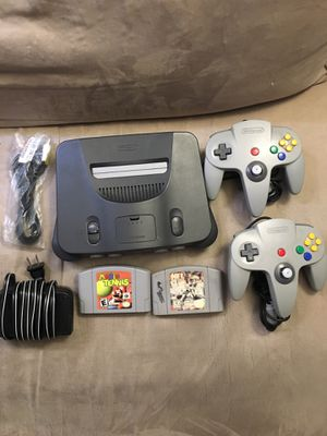 N64 Bundle Two OEM Controllers + Mario Kart Tennis And NFL Quarterback Club 99 OEM Power Cable Brand New 3rd Party AV Cable for Sale in Murrieta, CA