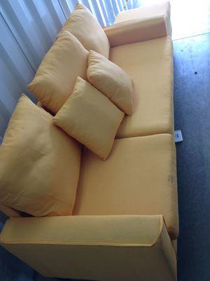 Yellowish/orangish sofa and foot stool for Sale in Ellenwood, GA