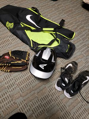 Baseball helmet, glove, bag, cleats/shoes for Sale in Haverhill, MA