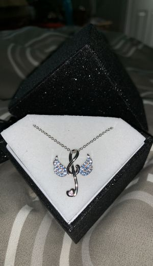 "🌸BUY 1 GET 1 FREE🌸 S925 Musical Note with Wings BLUE AND PINK CRYSTALS 18"" chain for Sale in Mill Creek, WA"