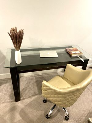 Sleek glass modern desk with leather tufted adjustable chair for Sale in Beverly Hills, CA