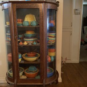 3 Beautiful Cabinets, Also Everything Inside Cabinets For Sale. Los Angeles Bauer Dinner Plates, Salad Plates Etc., Many Antique Water Pitchers Etc. for Sale in Hanford, CA
