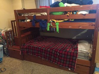Bunk bed with roll out Trundle and storage for Sale in Pittsburgh,  PA