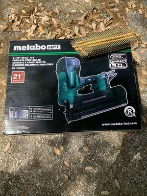 Framing nail gun metabo 21 degree battery for Sale in San Antonio, TX